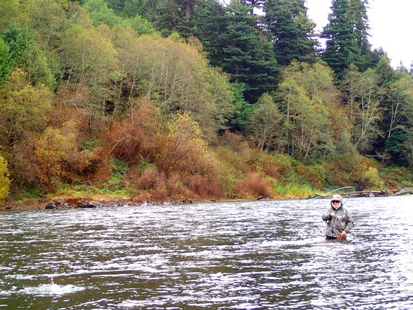 An angler playing a fish in the autumn on the Klamath