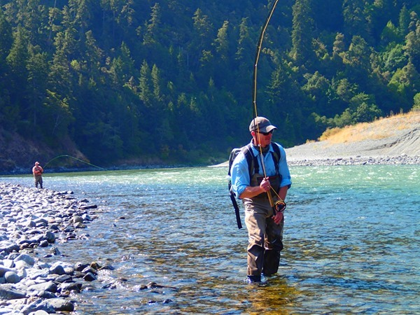 An angler playing a fish on the Klamath